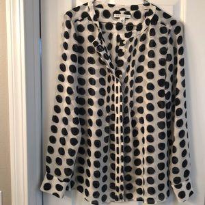 Banana Republic long-sleeves polka dot blouse sz S